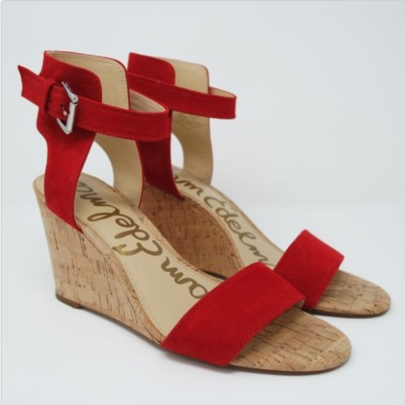 5e9a09386d66 Sam Edelman Willow Red Suede Strappy Wedge Sandal.  M 5a8765f15512fd05305255c3